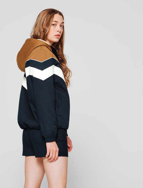 blouson capuche color block fourré sherpa femme