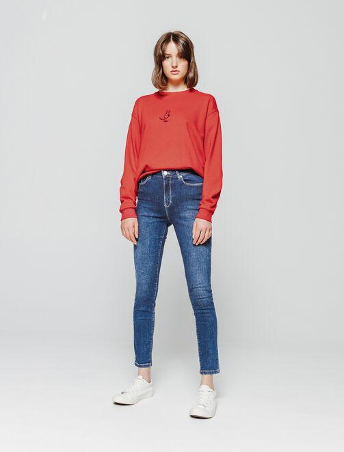 Jean denim skinny taille haute femme