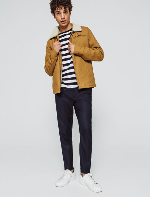 Pilot jacket en canvas camel homme