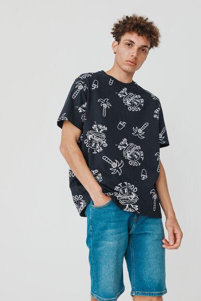 T-shirt imprimé burger en coton BIO