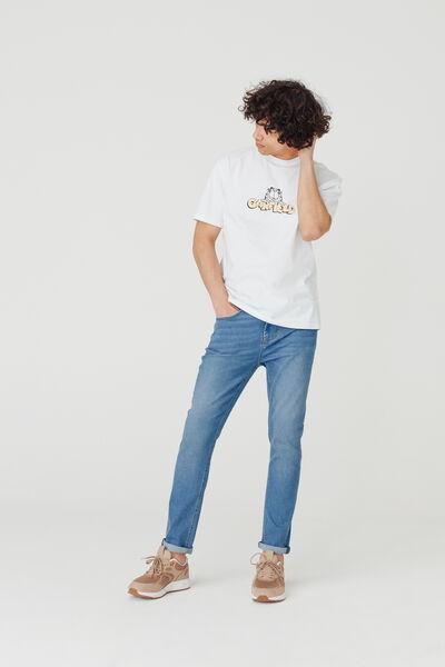 Jean slim tapered bleach coton bio