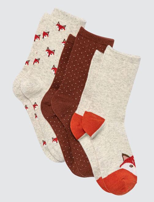 Lot de 3 chaussettes Chat femme