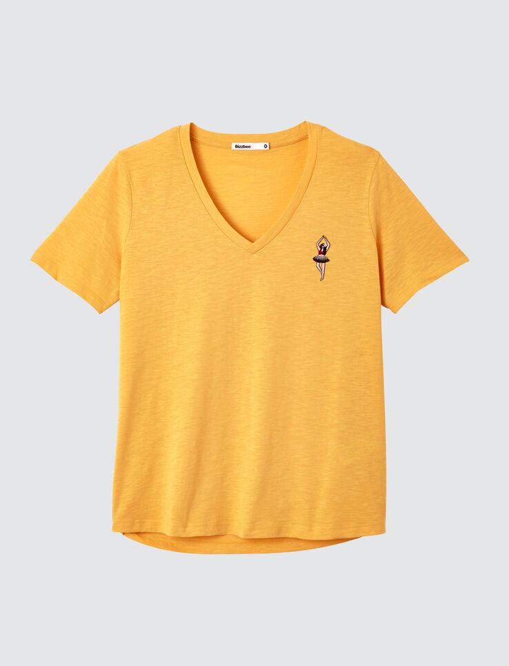 T-shirt col V brodé
