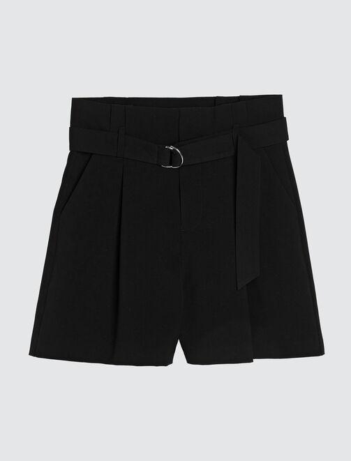 short à pinces noir femme