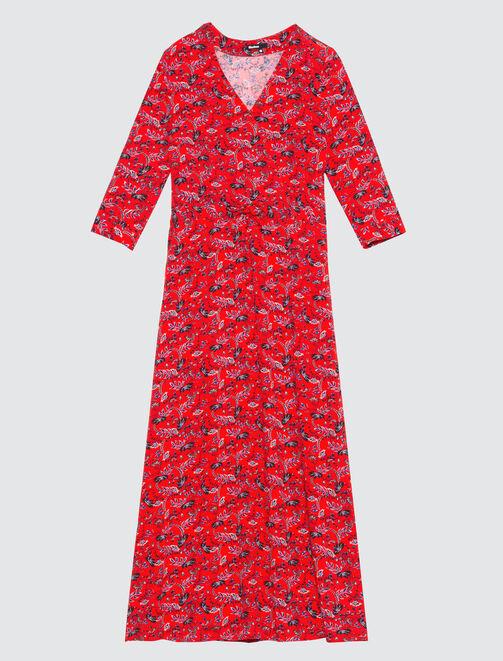 Robe longue cache-cœur fleurie femme