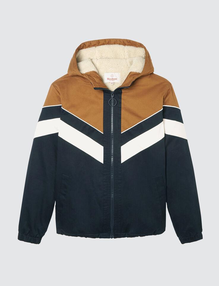 blouson capuche color block fourré sherpa