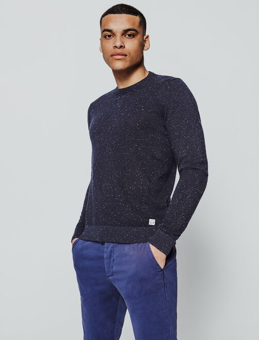 Pull col rond neps homme