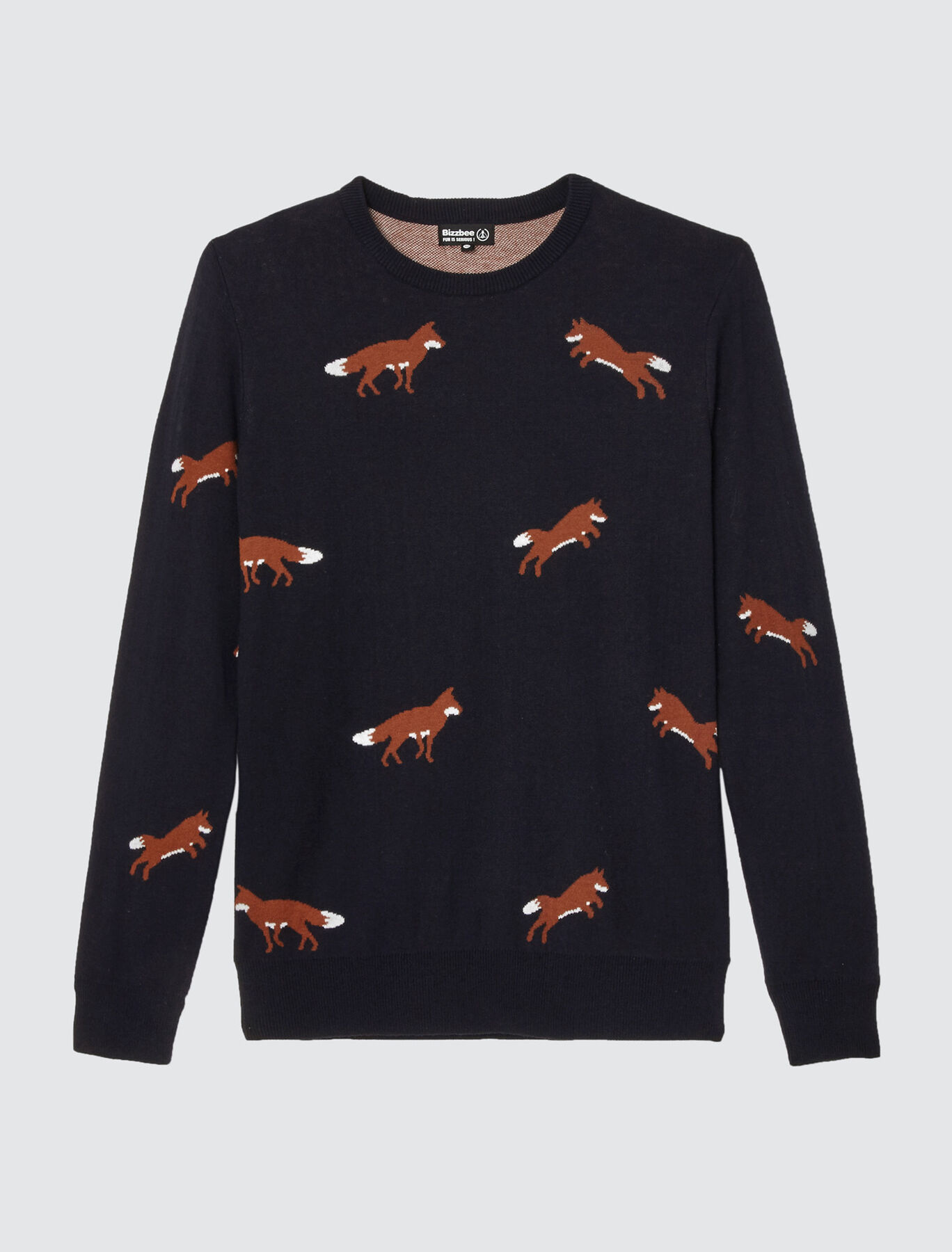 Pull en coton laine avec jacquard renard