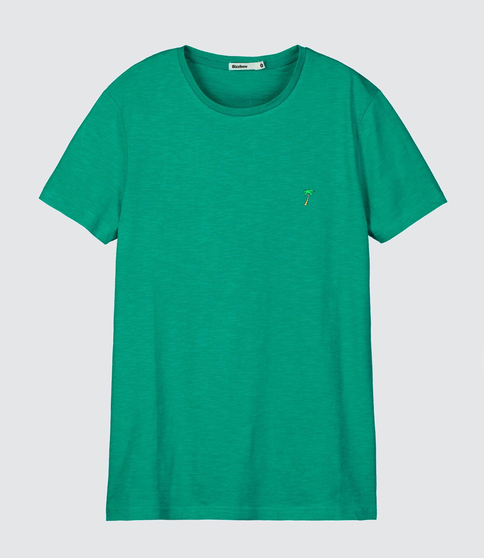 T-shirt uni broderie palmier