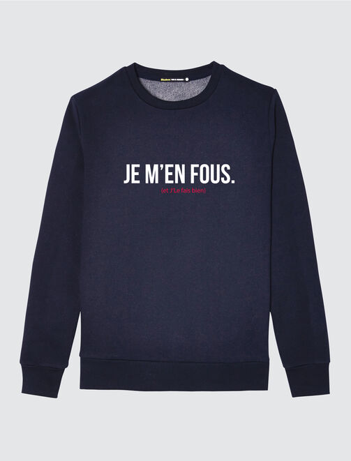 "Sweat à message ""Je m'en fous"" homme"
