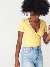 T-shirt cropped cache-coeur coton bio