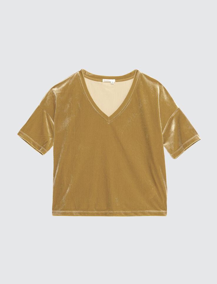 T-shirt col V velours