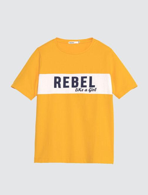 """T-shirt à message """" Rebel like a girl"""" femme"""