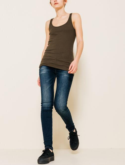 Jean skinny brut délavé femme