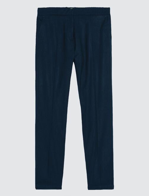 pantalon urbain uni à pinces femme