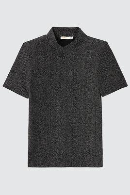 T-shirt col montant pailleté noir & argent