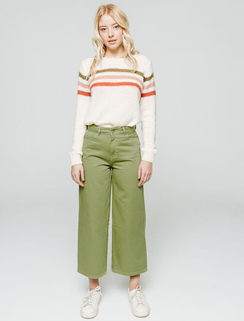 Jean couleur jambes larges cropped femme