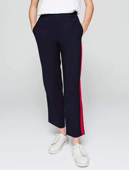 Pantalon fluide à bandes femme