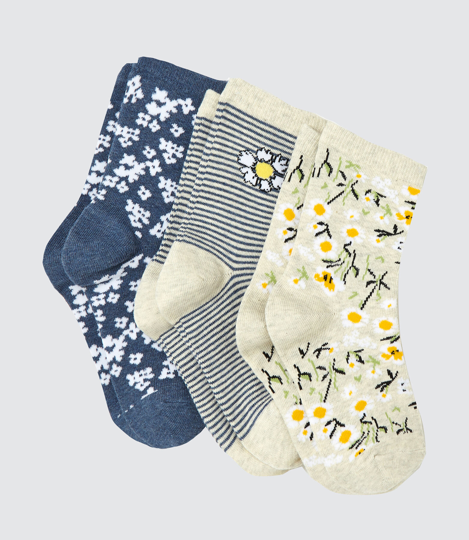 Lot de 3 Chaussettes Fleuries
