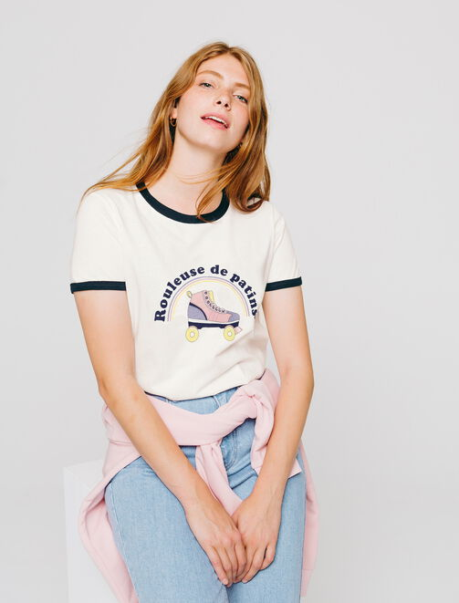 """T-shirt humoristique """"ROULEUSE DE PATINS"""" femme"""