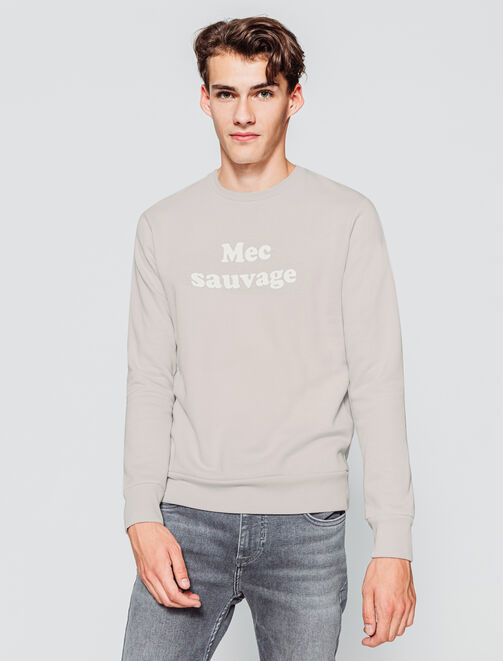 "Sweat à message ""Mec sauvage"" homme"
