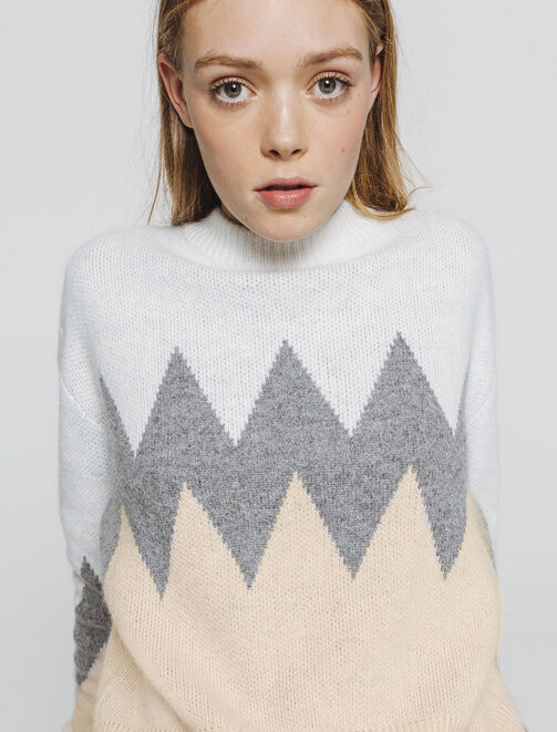 Pull colorblock zig zag femme