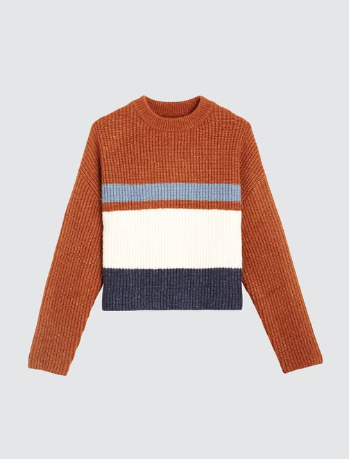 Pull rayé col montant femme