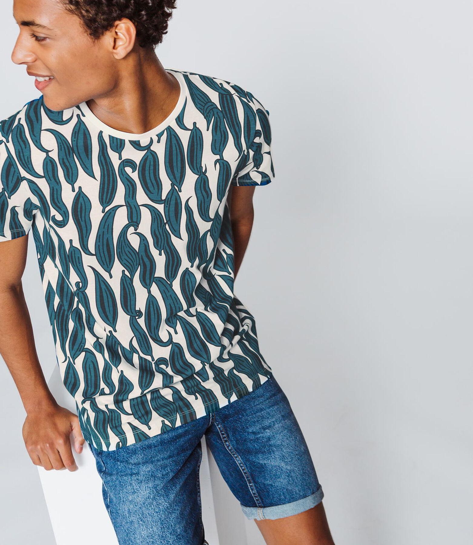 T-shirt imprimé all over feuilles bicolores