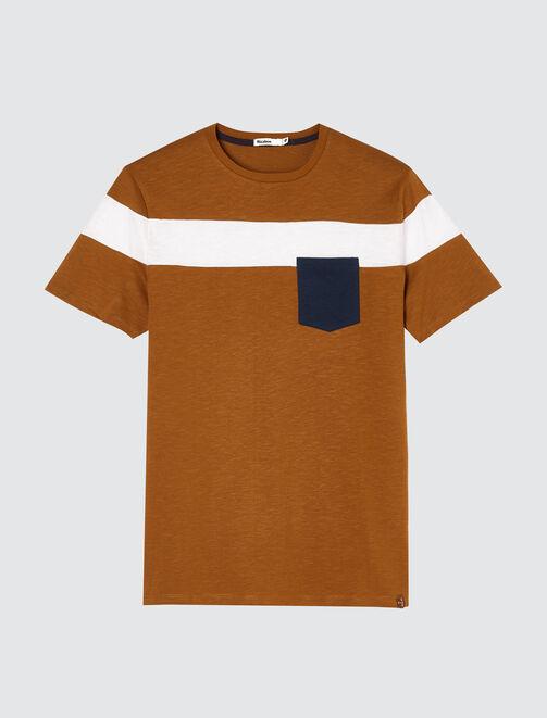 T-shirt bande placée à poche homme