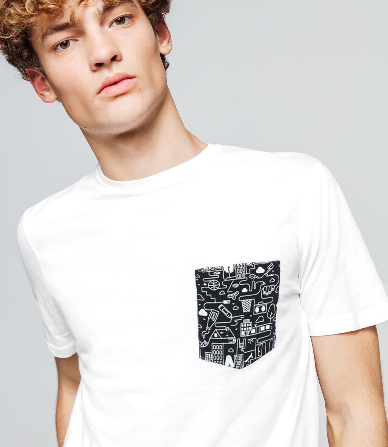 T-shirt uni poche printée