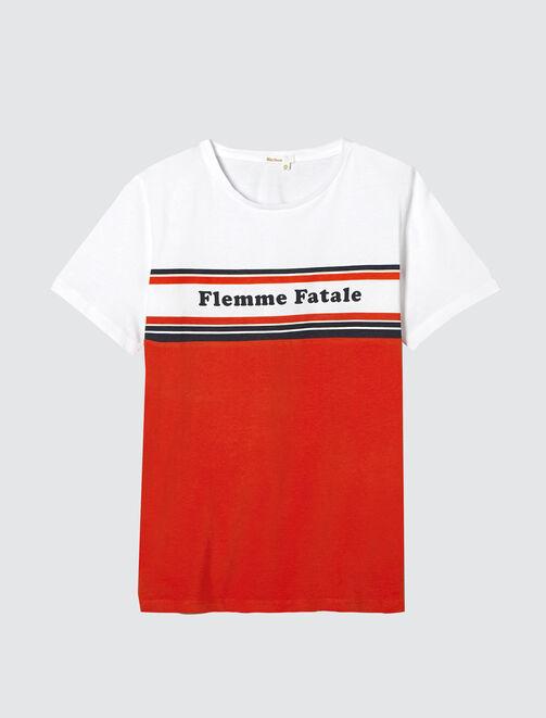 """T-shirt colorblock message """"Flemme fatale"""" femme"""