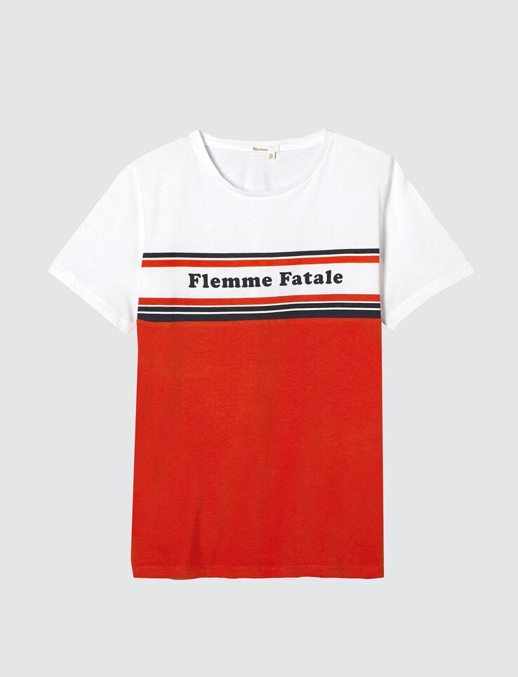 """T-shirt colorblock message """"Flemme fatale"""""""
