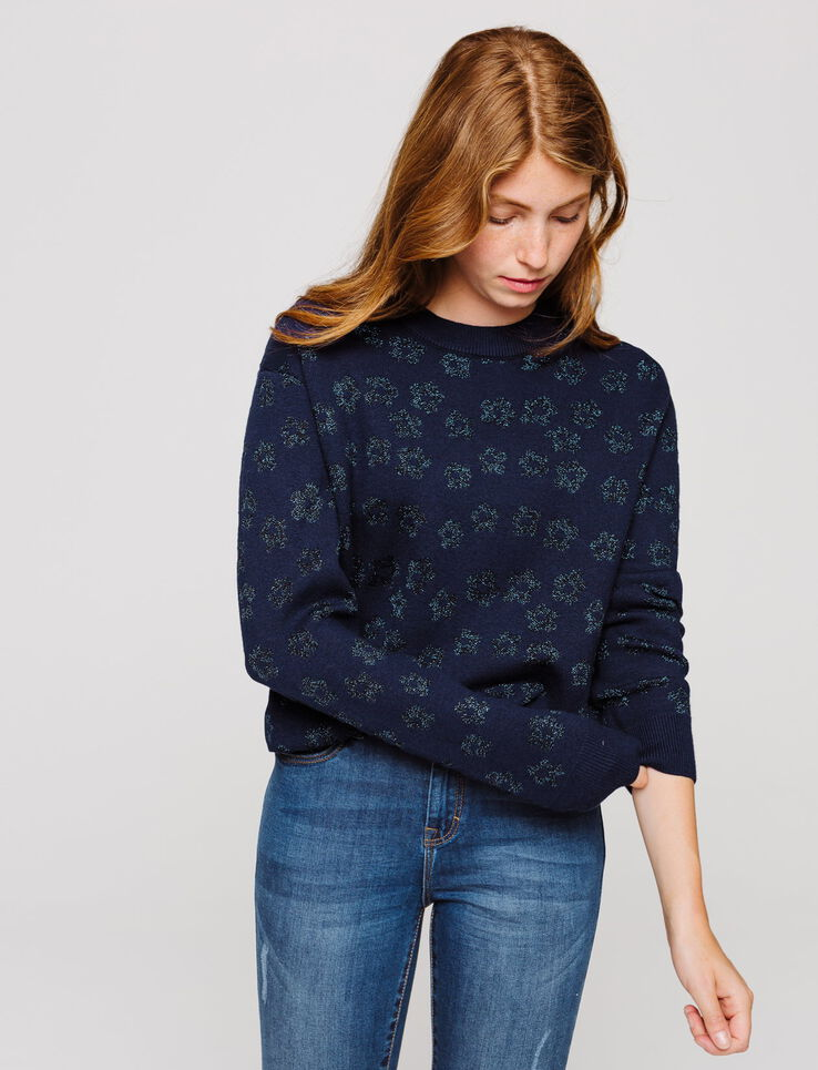 Pull col rond motif fleurs