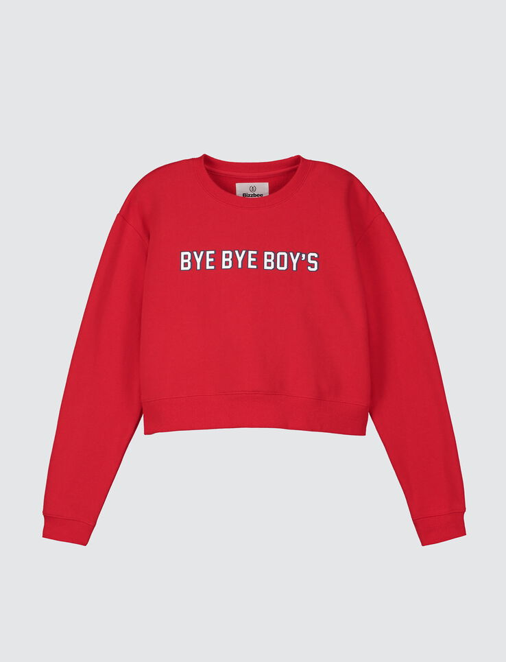"Sweat cropped message ""BYE BYE BOYS"""