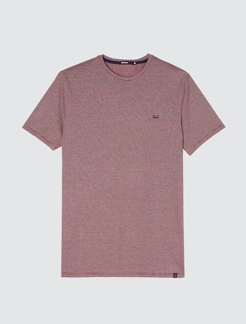 T-shirt matière fantaisie, broderie poitrine homme