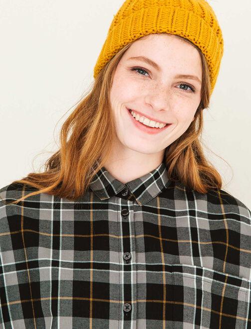 Chemise en coton à carreaux  femme