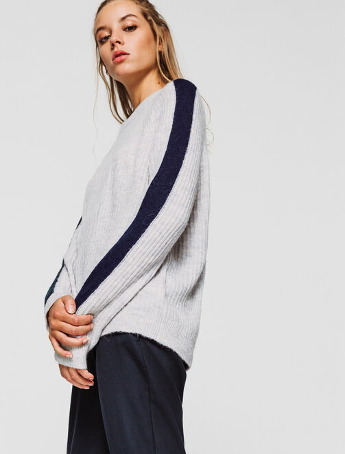 Pull maille fine douce rayure manche femme