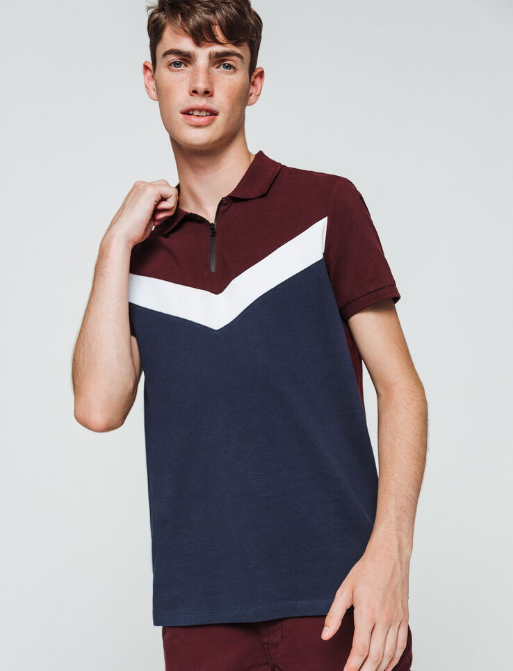 Polo zippé colorblock