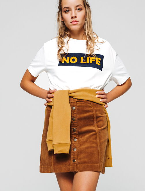 "T-shirt à message "" NO LIFE"" femme"
