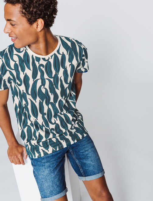 T-shirt imprimé all over feuilles bicolores homme