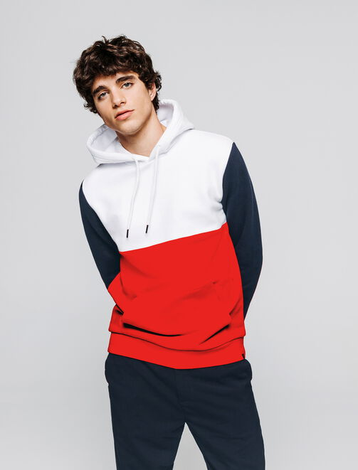 Sweat capuche colorblock homme