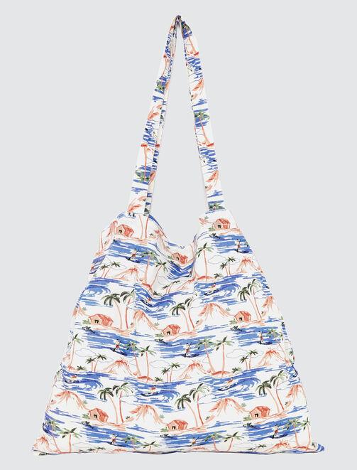 Tote Bag Imprimé Hawaï en coton bio femme
