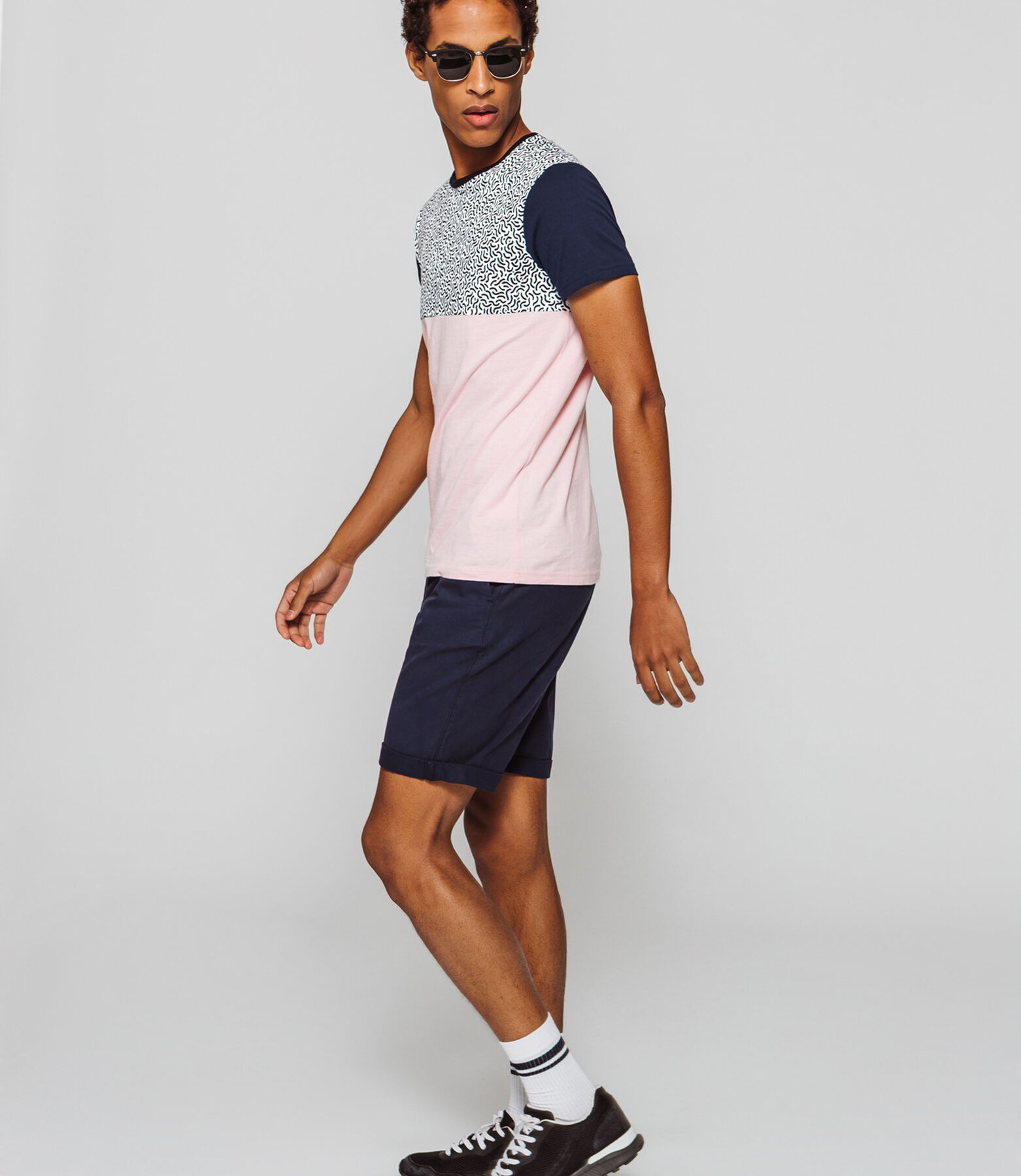 T-shirt colorblock à motifs