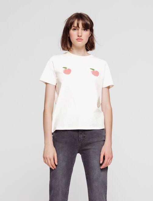 T-shirt imprimé pêche en coton bio femme