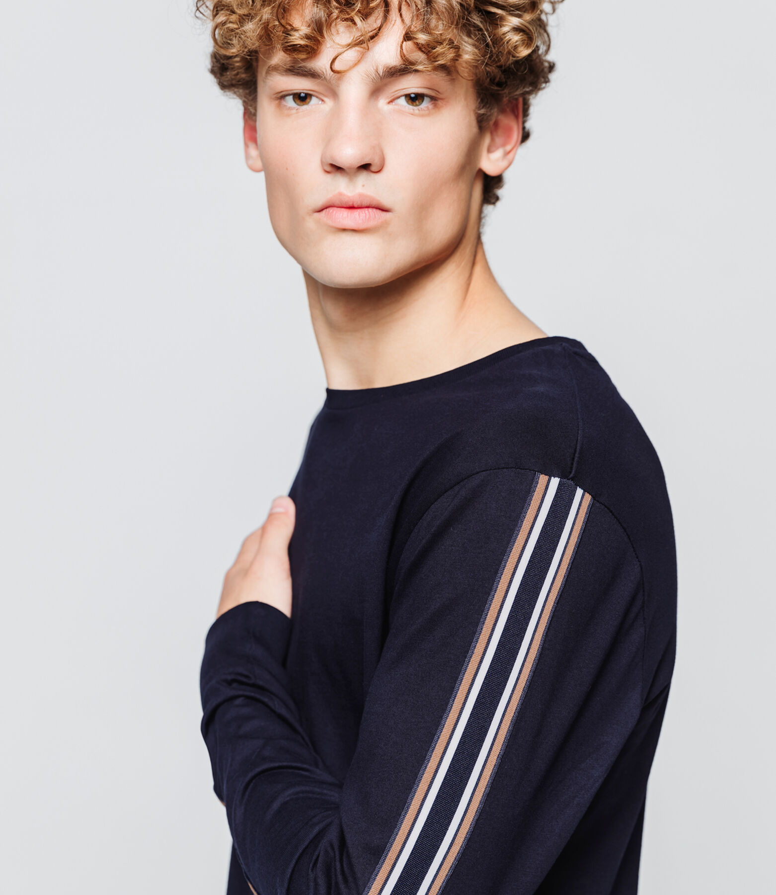 T-shirt manches longues tape rayée