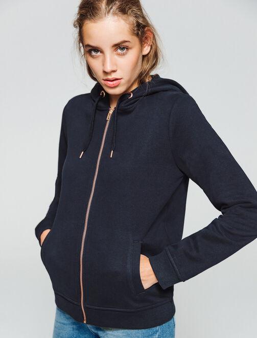 Sweat basique zippé capuche  femme
