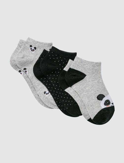 Lot de 3 Socquettes Panda femme