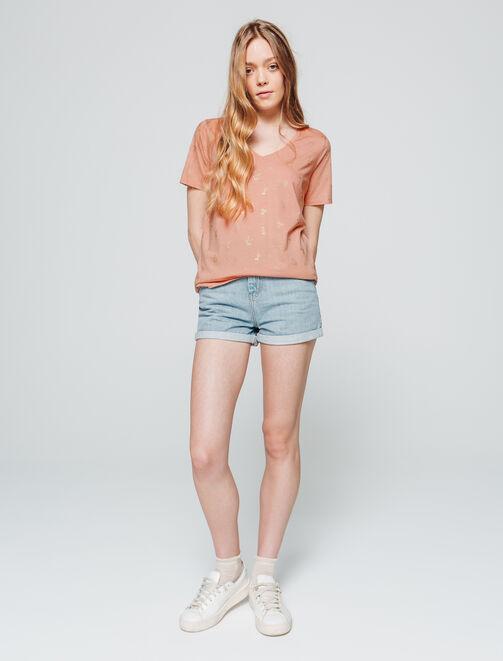 T-shirt col V imprimé femme