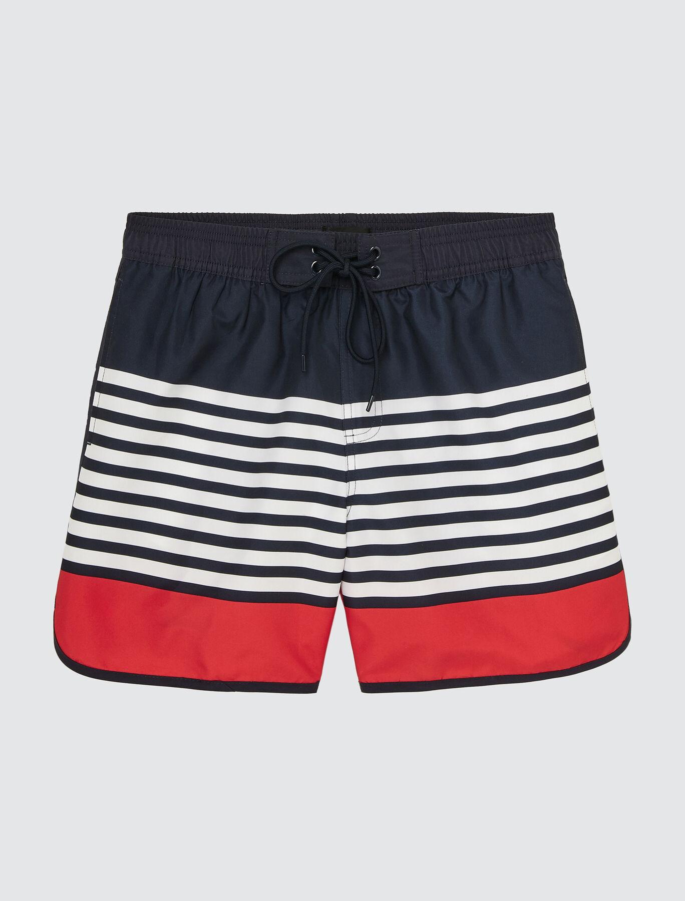 Short de bain mi-long marinière colorblock