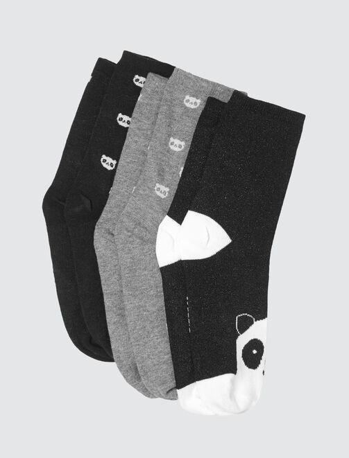 Lot de 3 Chaussettes Hautes Panda femme